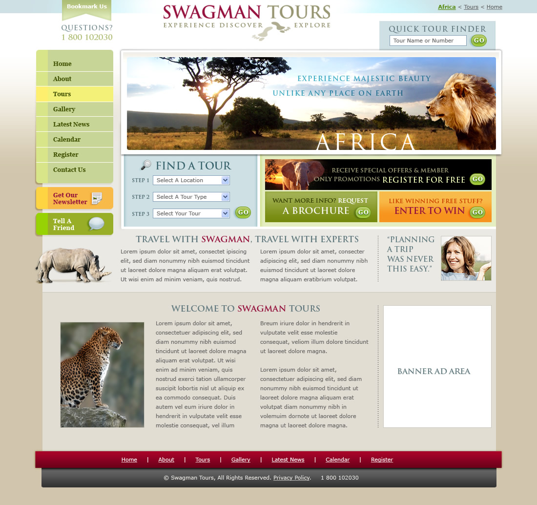Web site design for Swagman Tours | Luminous Web Design